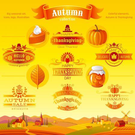 Thanksgiving icon festival set. Turkey, pumpkin, pie, autumn leaf, fall harvest vegetables fruits.