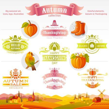Thanksgiving icon logo festival set. Turkey, pumpkin, pie, autumn leaf, fall harvest vegetables fruits. Illusztráció