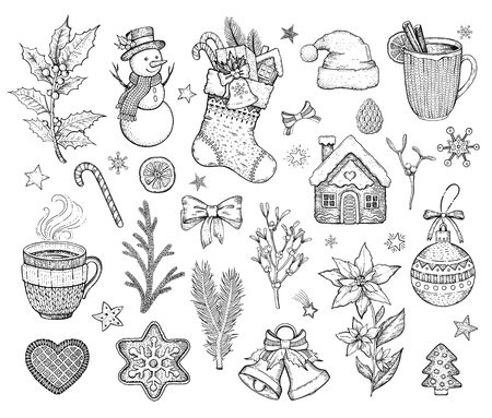 Christmas hand drawn doodle icon set. Merry Xmas Happy New year symbol, retro sketch style. Cute emblem of sock, snowman, cookie, Santa hat, bow. Vector illustration isolatated on white backgraund Ilustracja