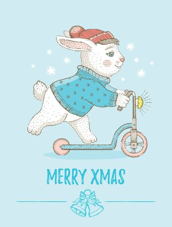 Merry Christmas card. Cute animal poster for Xmas New Year. Cartoon bunny pet. Hand drawn vector illustration isolated on blue background. Retro sketch for girl, baby t-shirt print design or card