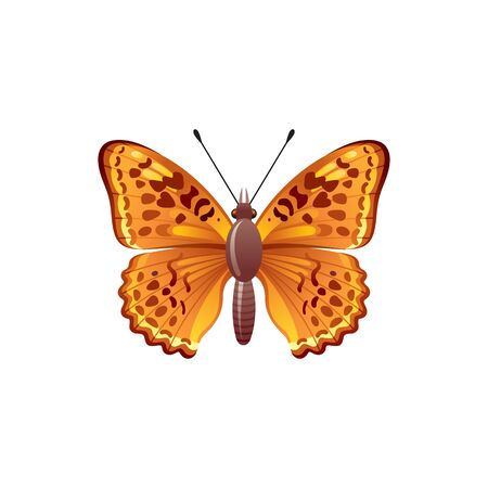 Butterfly icon. 3d realistic butterfly insect with beautiful orange brown color wings. Animal sign for logo design, poster, t-shirt print, banner. Vector illustration isolated on white background