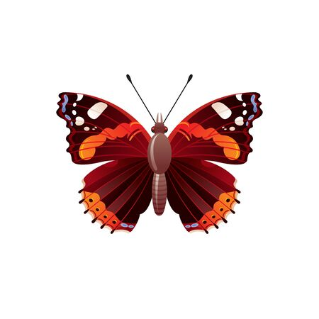 Butterfly icon. 3d realistic admiral butterfly insect with beautiful red color wings. Animal sign for logo design, poster, t-shirt print, banner. Vector illustration isolated on white background