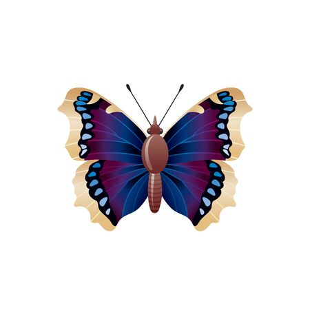 Butterfly icon. 3d realistic Nymphalis antiopa butterfly insect with beautiful blue black wings. Animal sign for logo design, poster, t-shirt print. Vector illustration isolated on white background