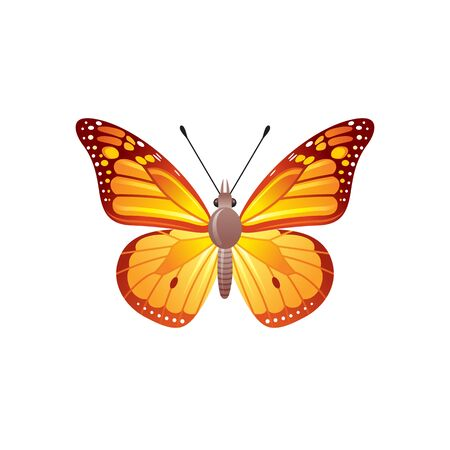 Butterfly icon. 3d realistic viceroy butterfly insect with beautiful orange color wings. Animal sign for logo design, poster, t-shirt print, banner. Vector illustration isolated on white background Stock fotó - 132932184