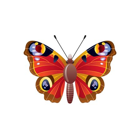 Butterfly icon. 3d realistic peacock butterfly insect with beautiful red color wings. Animal sign for logo design, poster, t-shirt print, banner. Vector illustration isolated on white background Stock fotó - 132932191