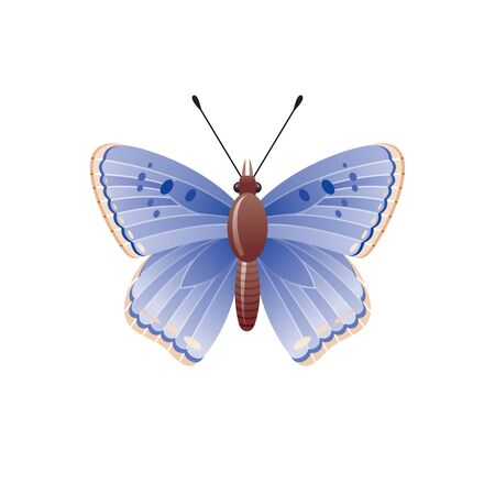 Butterfly icon. 3d realistic butterfly moth insect with beautiful blue color wings. Animal sign for logo design, poster, t-shirt print, banner. Vector illustration isolated on white background