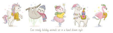 Christmas cute magic tropical animal unicorn, sloth, pig, lama, flamingo. Hand drawn trendy doodle icon set. Merry Xmas Happy New year cartoon sketch. Watercolor vector illustration isolated white Ilustracja
