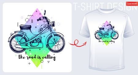 Motorcycle scooter t-shirt print, trendy memphis color moped with slogan isolated on white background. Hand drawn man, boy sketched vector illustration. Fashion art, cool motorbyke geometric shapes