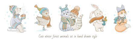 Christmas cute forest animals bear, owl, raccoon couple, rabbit, fox. Hand drawn trendy doodle icon set. Merry Xmas Happy New year cartoon sketch. Watercolor vector illustration isolated on white Illusztráció
