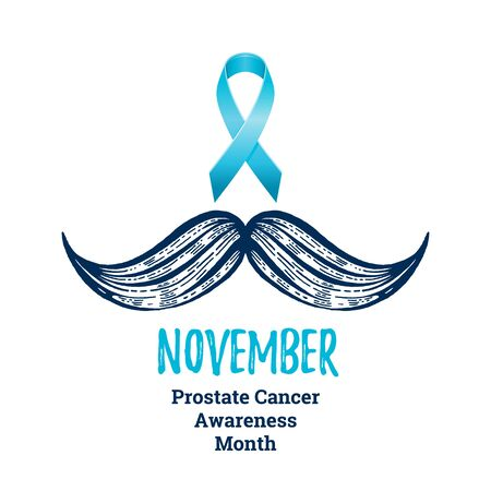 Prostate cancer awareness ribbon with moustaches. Men health symbol. Men cancer prevention in November month. Blue color concept. Engraved, 3d cartoon vector illustration isolated on white background Stock fotó - 132932199