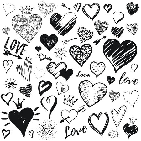 Heart icon set, hand drawn doodle sketch style. Handdrawn illustration by brush, pen, ink. Cute crown, arrow, stars symbols. Vector drawing for Valentine day design, logo, card, print, textil more Stock fotó - 132932085