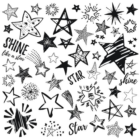 Stars icon set, hand drawn sketch, doodle vector illustration. Black symbol by brush, pen, ink, Isolated on white background. Cool trendy handdrawn set for logo, textile print, fabric design, card Stock fotó - 132932086