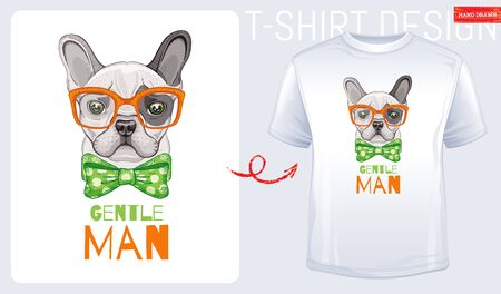 Cute bulldog dog t-shirt print design. Cool puppy vector in doodle sketch style for tee, child, baby funny apparel. Dog character poster, hipster elements. Fashion illustration art isolated on white