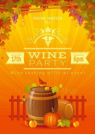 Wine festival poster. For wine party invitation, beaujolais nouveau fest. Autumn vector illustration.