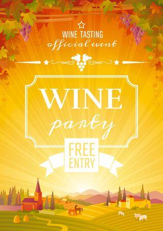 Wine festival poster. For wine party invitation, beaujolais nouveau fest. Autumn vector illustration. Stock fotó - 132932092
