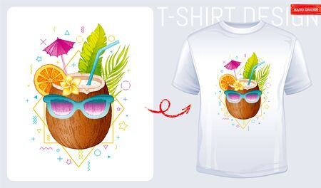 Coconut t-shirt print. Trendy fashion design. Sketch doodle coconut cocktail in sunglasses and geometric memphis shapes. Summer woman t-shirt design. Cool vector illustration isolated white background Ilustracja