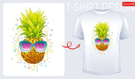 Pineapple t-shirt print. Trendy fashion design with sketch doodle pineapple in sunglasses and geometric memphis shapes. Summer woman t-shirt design. Cool vector illustration isolated white background Illusztráció