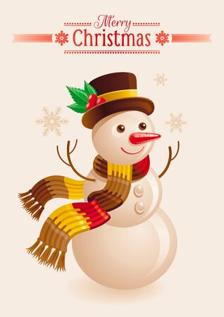 Snowman Christmas card. Cartoon snow man in hat and scarf. Xmas greeting card with snow man. Vector illustration.