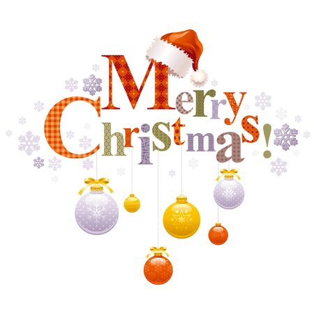 Merry Christmas holiday vector horizontal banner on white background with Santa Clause hat, tree decoration ball, snowflake. Elegant text letters. Abstract poster design illustration. Square template. Ilustracja