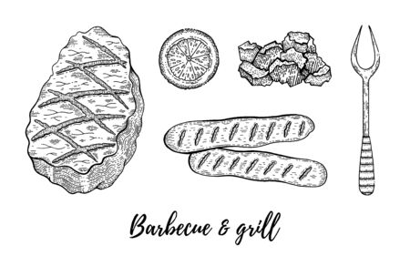 Grill barbecue sketch set. Meat fillet of lamb, beef, pork. Steak cook collection, hand drawn bbq grill restaurant or party menu. Vintage line engraved vector illustration isolated on white background
