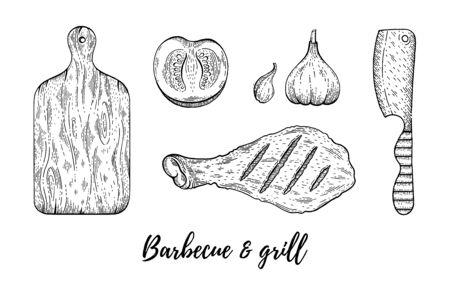 Grill barbecue sketch set. Chicken meat leg cook, board, knife collection, hand drawn bbq grill menu for restaurant, barbeque party. Vintage line engraved vector illustration isolated white background Archivio Fotografico - 133107555