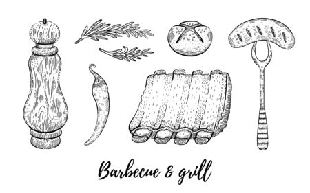 Grill barbecue sketch set. Meat lamb rib, sausage. Cooking collection, hand drawn bbq grill. Restaurant menu, barbeque party. Vintage line engraving vector illustration isolated on white background