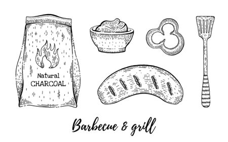 Grill and barbecue sketch set. Coal, sausage, sauce. Cook collection, hand drawn bbq grill menu for restaurant, barbeque party. Vintage line engraving vector illustration isolated on white background