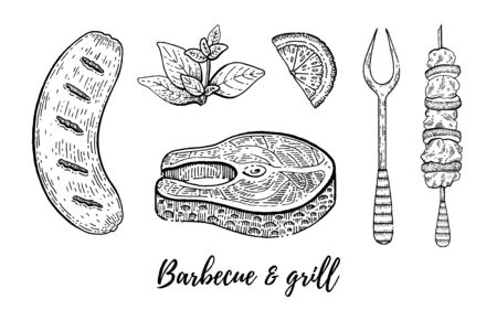Grill barbecue sketch set. Fish steak, sausage, kebab cook collection, hand drawn bbq grill menu for restaurant, barbeque party. Vintage line engraving vector illustration isolated on white background Ilustracja