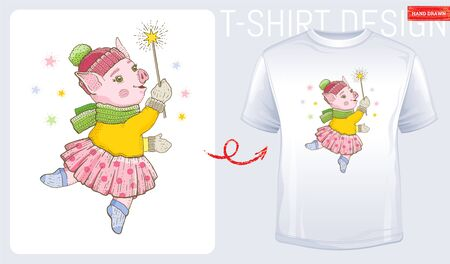 Winter pig t-shirt print design. Cute cartoon for baby, kid, woman fashion. White modern t shirt. Dancing pig vector illustration isolated on white background. Sketch doodle style watercolor icon Stock fotó - 133110595