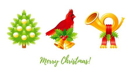 Christmas icon set. Cartoon Christmas tree, cardinal bird with jingle bell and holly berry, post horn. Greeting card design element. Cute Xmas vector illustration isolated on white background Stock fotó - 137270017