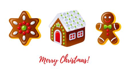 Christmas gingerbread biscuit icon set. Cartoon gingerbread man, house and cookie star. Dessert design element. Cute sweet Xmas vector illustration isolated on white background. Merry Christmas card