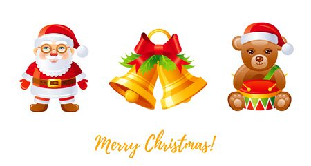 Christmas icon set. Cartoon Santa Claus, jingle bells, teddy bear with drum, red and golden greeting card design element. Cute Xmas vector illustration isolated on white background. Merry Christmas Stock fotó - 137270019