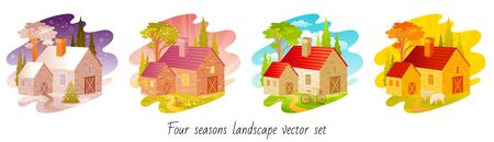 Four seasons set. House with winter, spring, summer, autumn symbols. Rural landscape scene with home, trees, garden, weather elements. 4 season vector illustration isolated on white background.