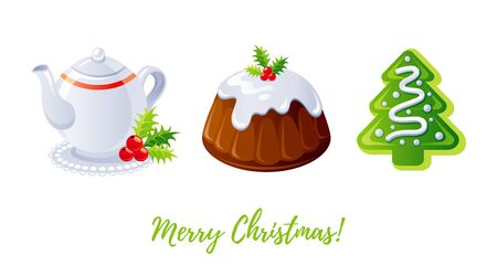 Christmas pudding, gingerbread cookie and tea icon set. Holly berry cake, teapot, Christmas tree biscuit. Sweet dessert cartoon design element. Xmas vector illustration isolated on white background. Ilustracja