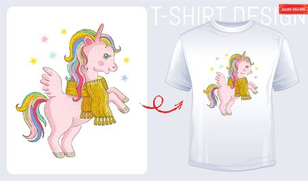 Winter unicorn t-shirt print design. Cute cartoon for baby kid, woman fashion. Modern t shirt. Pink Unicorn pony vector illustration isolated on white background. Sketch doodle style, watercolor icon