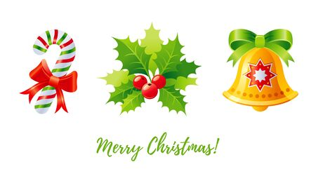 Christmas icon set. Holly mistletoe, jingle bell, candy cane. 3d cartoon greeting card design element. Cute Xmas vector illustration in gold, red, green isolated on white background. Merry Christmas Ilustracja