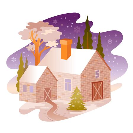 Winter snow landscape. House from four seasons seria. Cartoon rural home in vintage style. Retro country building with trees, weather elements. Winter vector illustration isolated on white background.