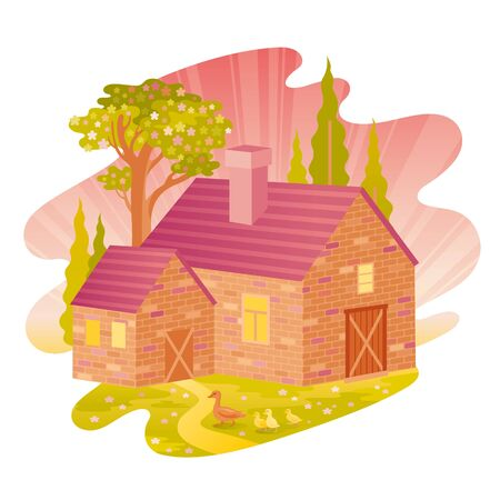Spring landscape. House feom four seasons seria. Cartoon rural home in vintage style. Retro country building with trees, weather elements. Spring morning vector illustration isolated white background Illustration