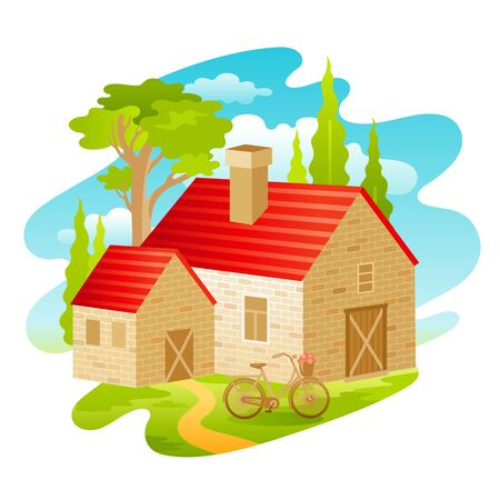 Summer landscape. House from four seasons seria. Cartoon rural home in vintage style. Retro country building with trees, weather elements. Summer vector illustration isolated on white background.