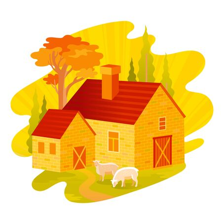 Autumn fall landscape. House feom four seasons seria. Cartoon rural home in vintage style. Retro country building with trees, weather elements. Autumn vector illustration isolated on white background. Ilustracja