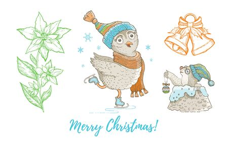 Christmas doodle owl bird, mole, jingle bell, poinsettia set. Cute watercolor hand drawn collection. Poster greeting card design element. Vintage graphic vector illustration isolated white background