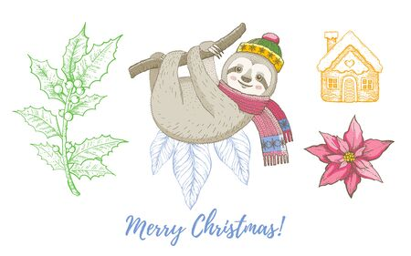 Christmas doodle sloth animal, mistletoe, gingerbread set. Cute watercolor hand drawing collection. Poster, greeting card, design element. Vintage graphic vector illustration isolated white background Stock fotó - 137364865