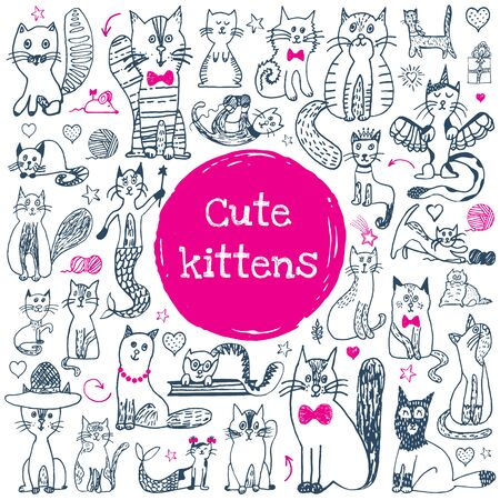 Conjunto de doodle de gato. Animal lindo dibujo. Colección de gatos divertidos de dibujos animados. Doodle gatitos de contorno con caras lindas. Patrón de arte para niños estampado, tela, tarjeta. Ilustración de vector aislado sobre fondo blanco.