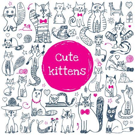 Insieme di scarabocchi del gatto. Simpatico animale da disegno. Collezione di gatti divertenti del fumetto. Gattini di contorno di Doodle con facce carine. Motivo artistico per bambini stampa, tessuto, carta. Illustrazione vettoriale isolato su sfondo bianco.