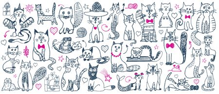 Cat doodle set. Cute sketch animal . Cartoon funny cats collection. Doodle outline kittens with cute faces. Art pattern for kids print, fabric, card. Vector illustration isolated on white background. Illusztráció