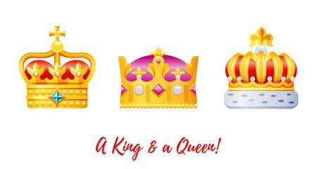 Crown icon set. King, queen, prince, princess royal collection in gold and red color.