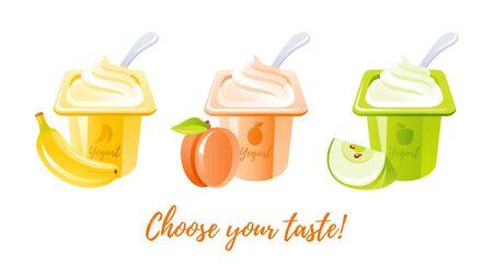 Yogurt food icon. Milk yoghurt with fruit. Cream dessert set, vector illustration. Sweet yougurt with banana, peach, apple taste in plastic cup packaging. Isolated white background. Cartoon milk icon Illusztráció