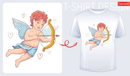 T-shirt cupid print. Cherub design for fashion Valentine day, wedding, baby shower, love t shirt print. Doodle cute sketch cupid, watercolor cartoon vector illustration. Isolated on white background