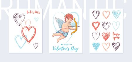 Valentine day poster template set. Doodle cupid, heart vertical banners. Cute design for Love day sale, promotion, greeting card. Vintage watercolor cherub, heart set. Vector illustration isolated Stock fotó - 135257097