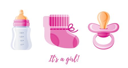 It s a girl newborn icon set. 3D Cartoon baby born pine symbol. Cute pacifier, milk bottle, shoes. Sweet vector illustration for baby shower design, gift card, child logo. Isolated on white background Stock fotó - 134967226